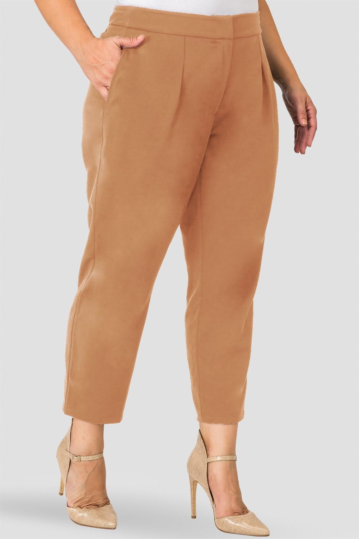 Standards & Practices Plus Size Cropped Tan Suiting Capri Pants