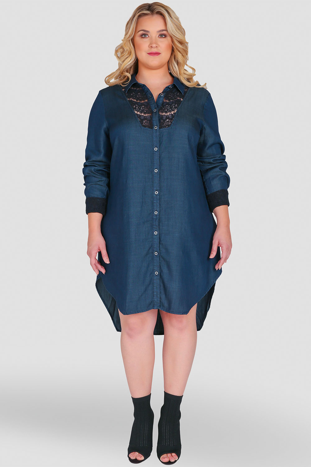 Standards & Practices Plus Size Women's Long-Sleeved Button-Up Denim & Lace Top