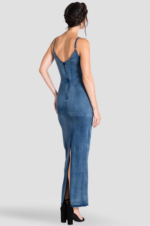 Standards & Practices V-Back Denim Maxi Dress w/ Back Slit