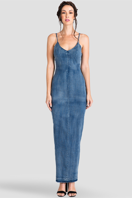 Women's Blue Denim V-Neck & V-Back Thin Strap Maxi Dress