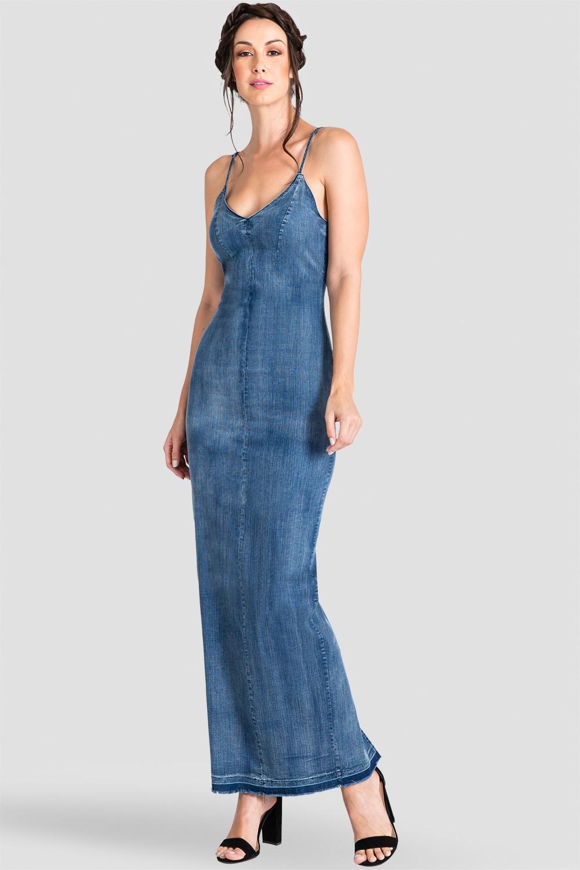 Standards & Practices Women's V-Neck Spaghetti Strap Denim Maxi Dress