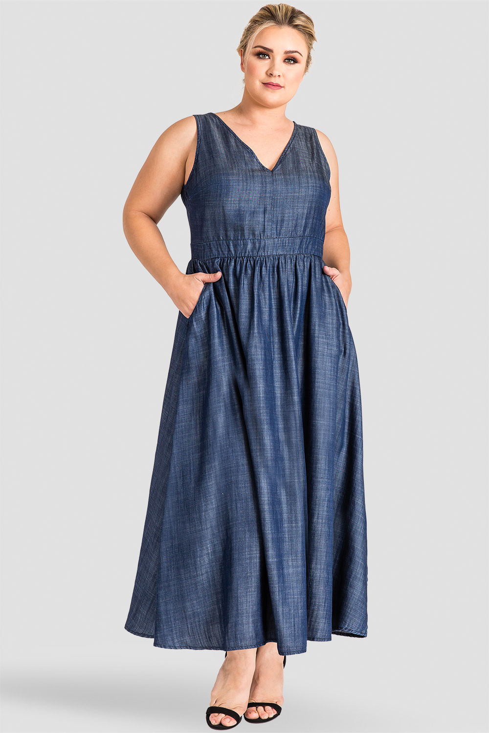 8d90eb44cb8 Standards   Practices - Standards   Practices Plus Size Indigo A-Line  Tencel Denim Maxi Dress - Nimah