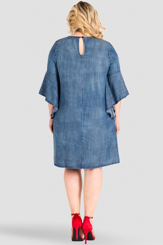 Plus Size Denim Flounce Bell Flare Sleeve Dress