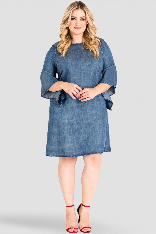 e631002edf1 Women Standards & Practices Plus Size Tencel Denim Flounce Flare Sleeve  Shift Dress SD3601138P-3093RIVERDL