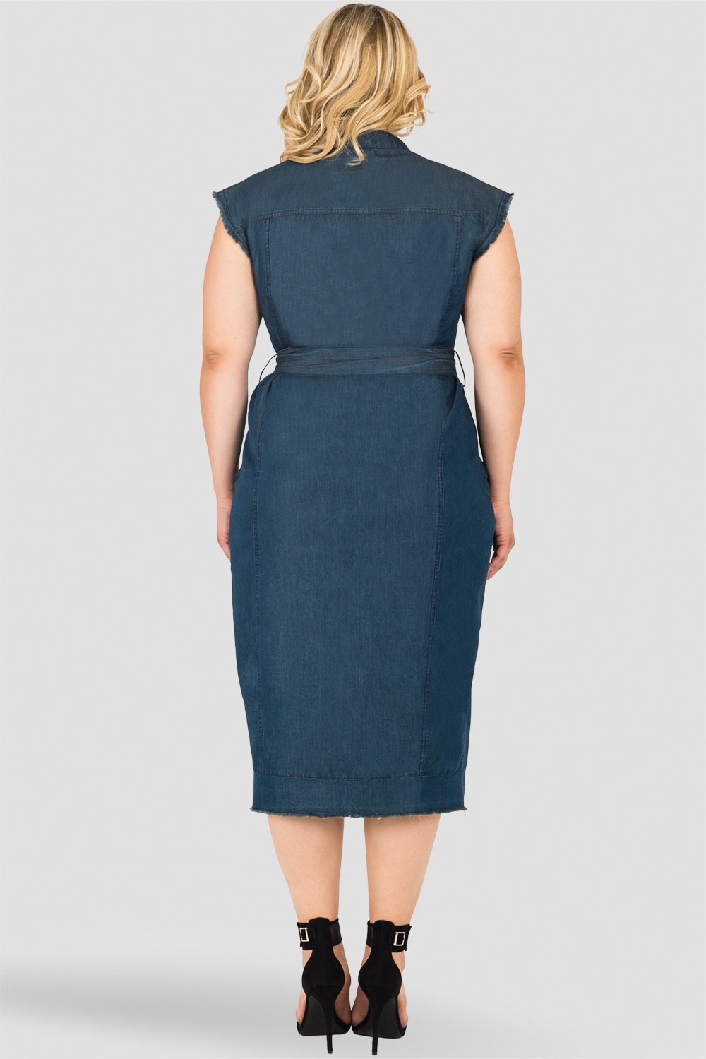 Plus Size Standards & Practices Long Frayed Drop Shoulder Sleeveless Grommet Belt and Released Hem Jacket Dress