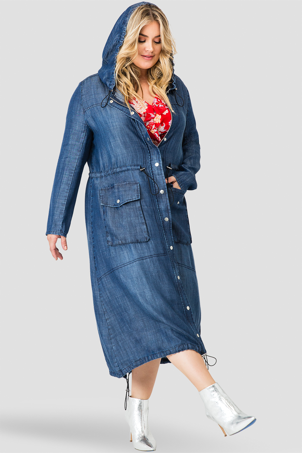 Standards & Practices Women's Tencel Denim Long Duster Hoodie Dress