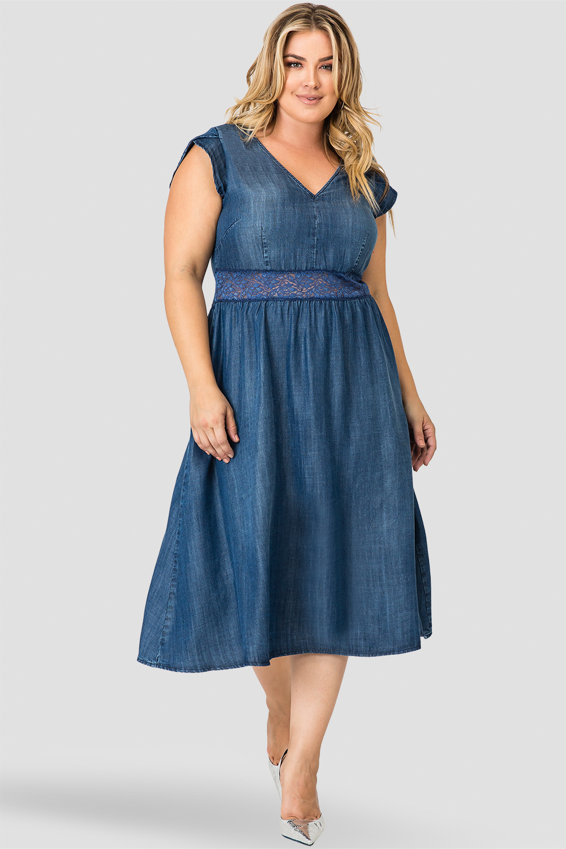 Standards & Practices Women's A-Line Midi Petal Short Sleeve Tencel Denim Dresss