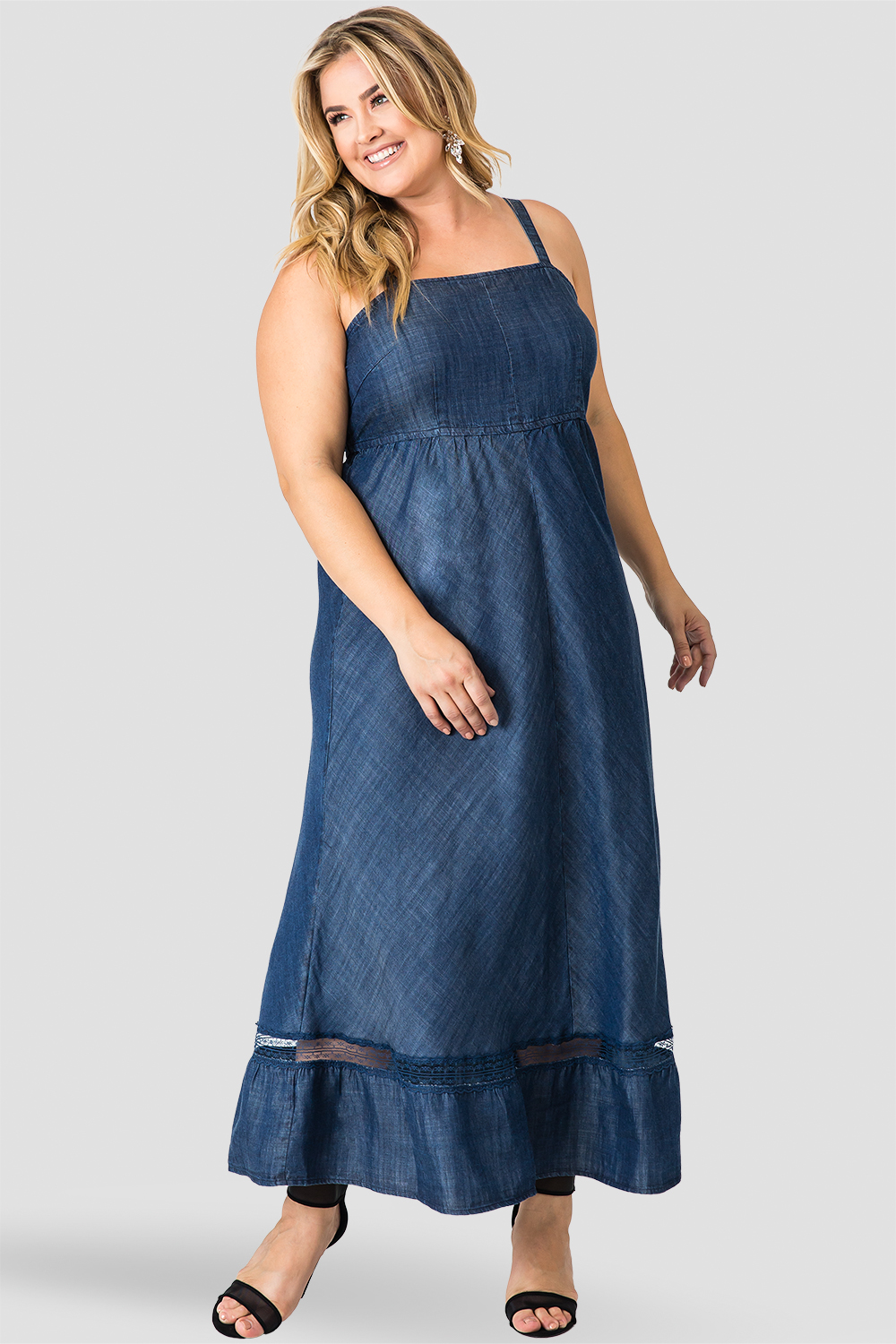 Standards & Practices Women's Spaghetti Strap Maxi Tencel Denim & Lace Dress