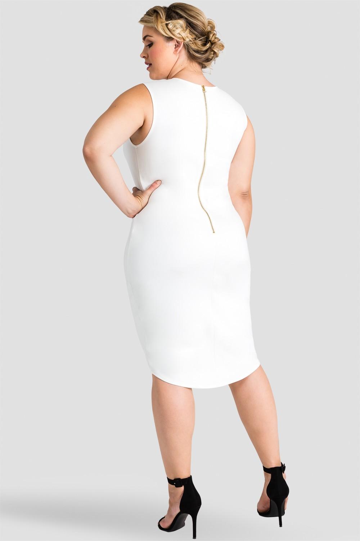 Plus Size Nathalie White Sleeveless Dress with Asymmetrical Hem