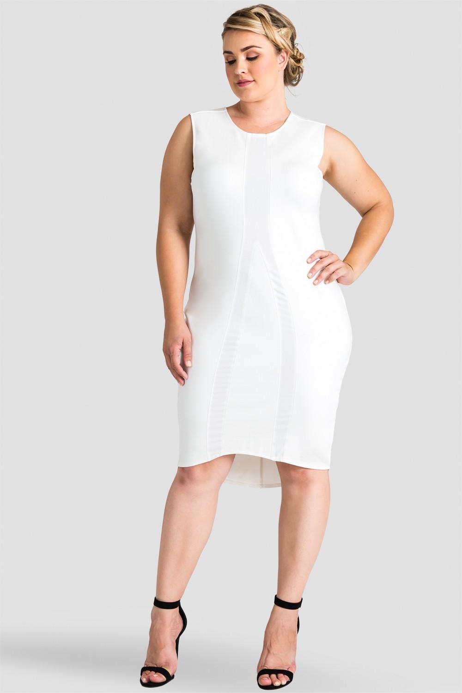 Plus Size Asymmetrical White Sleeveless Dress