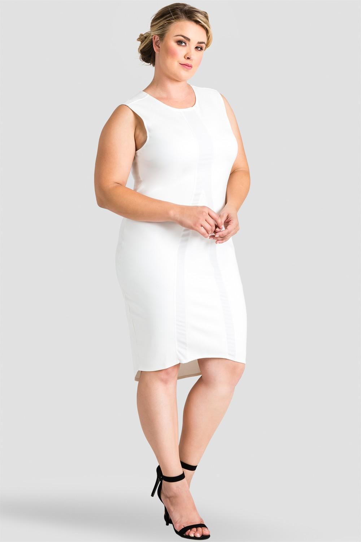 Plus Size Women's White Sleeveless Midi Dress