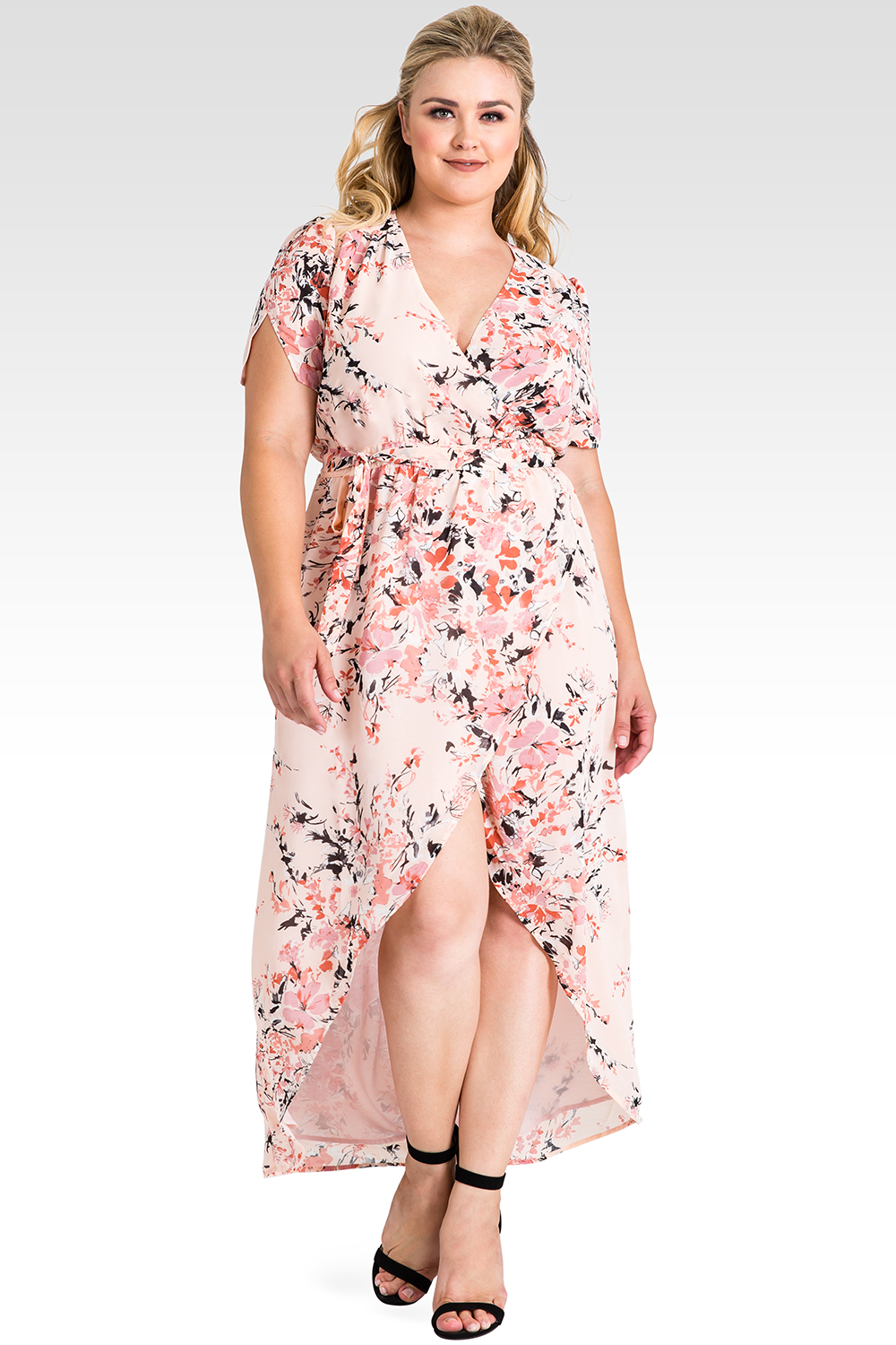 Plus Size Robin Short Sleeve V-Neck Peach Pink Floral Print Maxi Dress