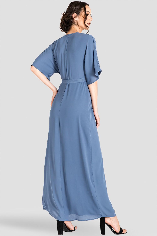 Light Blue Floral Kimono Wrap Maxi Dress