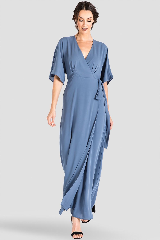 Women's Slate Blue Chiffon Kimono Wrap Maxi Dress