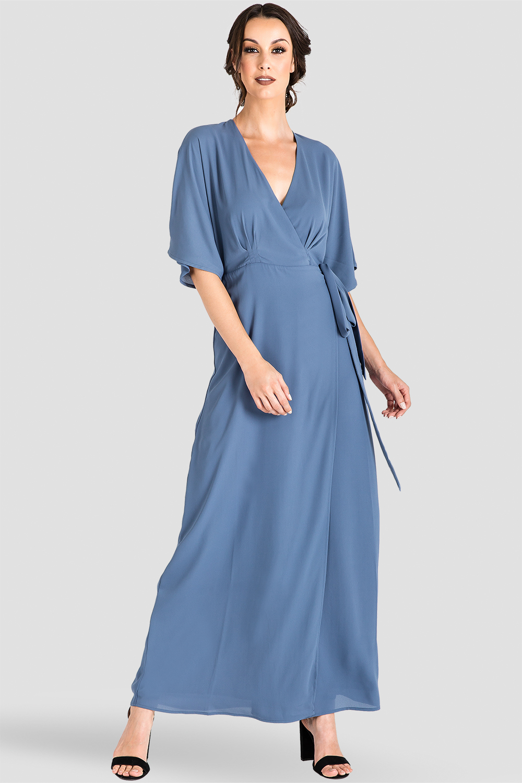 Slate Blue Floral Chiffon Kimono Maxi Dress