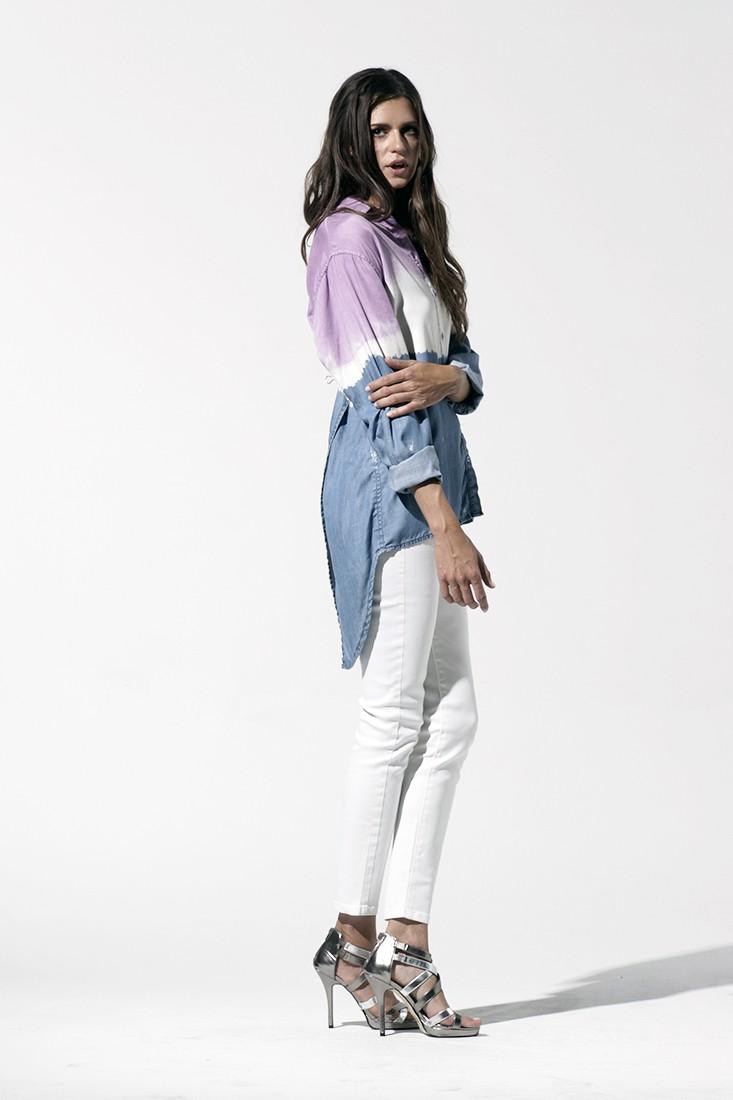 Women Tie Dye Button Down Shirt