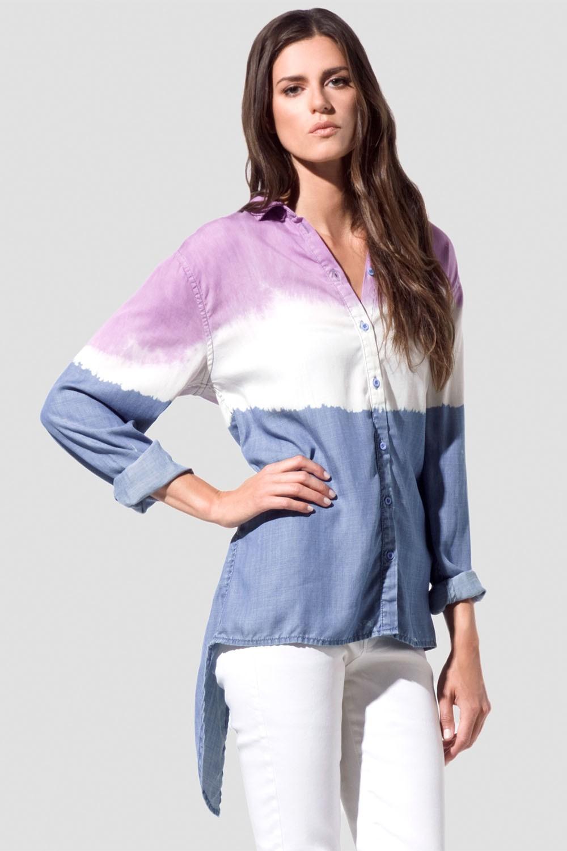 Women Tri-color Slit Back Blouse