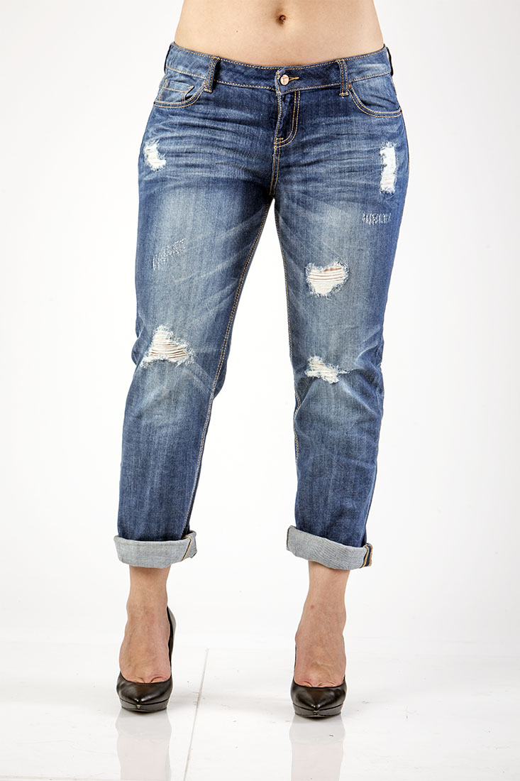 Women Plus Size Distressed Midrise Boyfriend Jeans