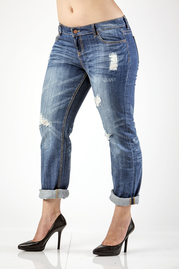 Women Plus Destroyed Boyfriend Jeans