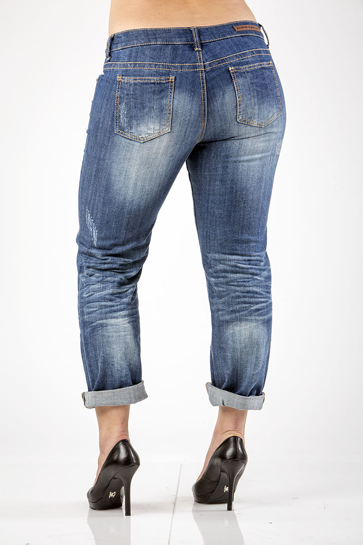 Womens Distressed Plus Midrise Jeans