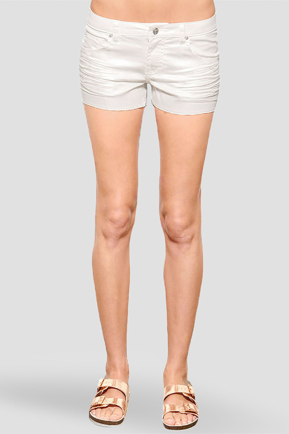 Women White Whisker Wash Denim Shorts