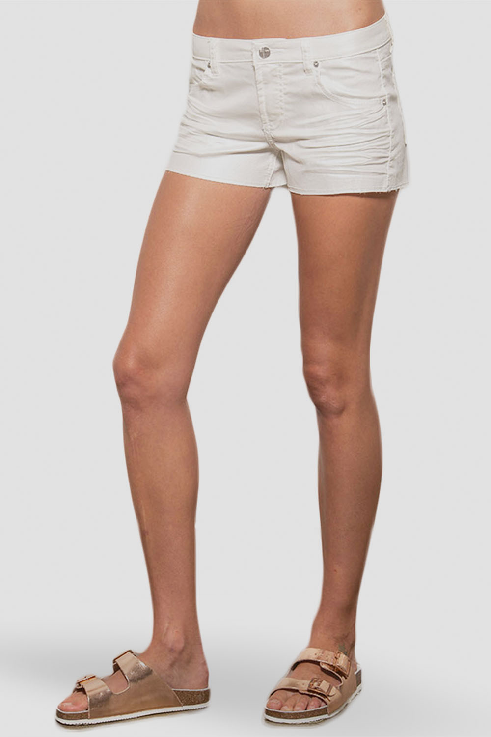 Women's White Whisker Denim Shorts