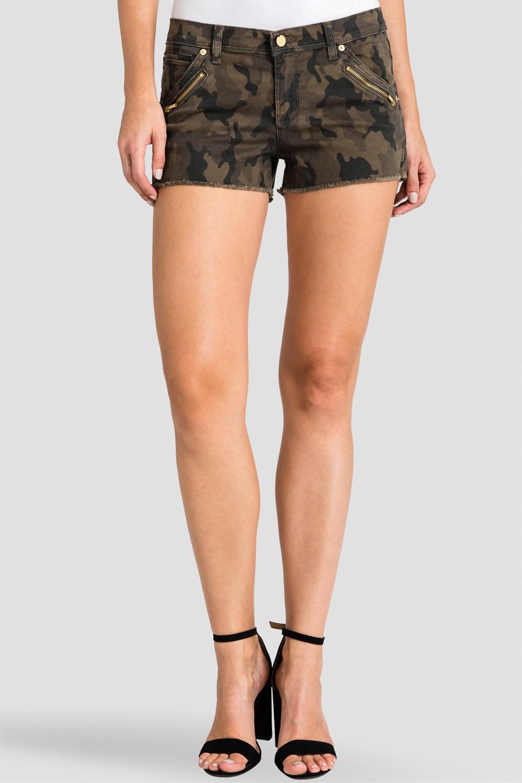 Women Camo Denim Raw Hem Shorts