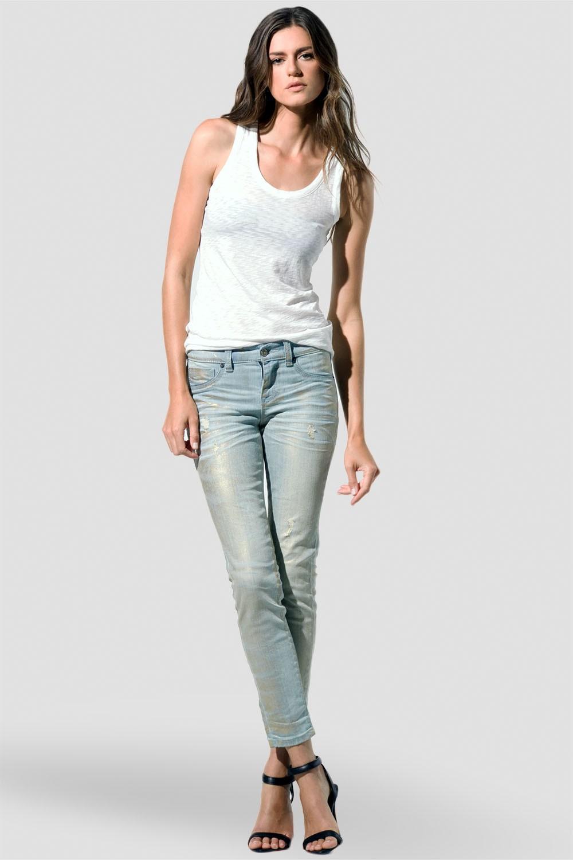 Women Light Wash Metallic Skinny Jeans