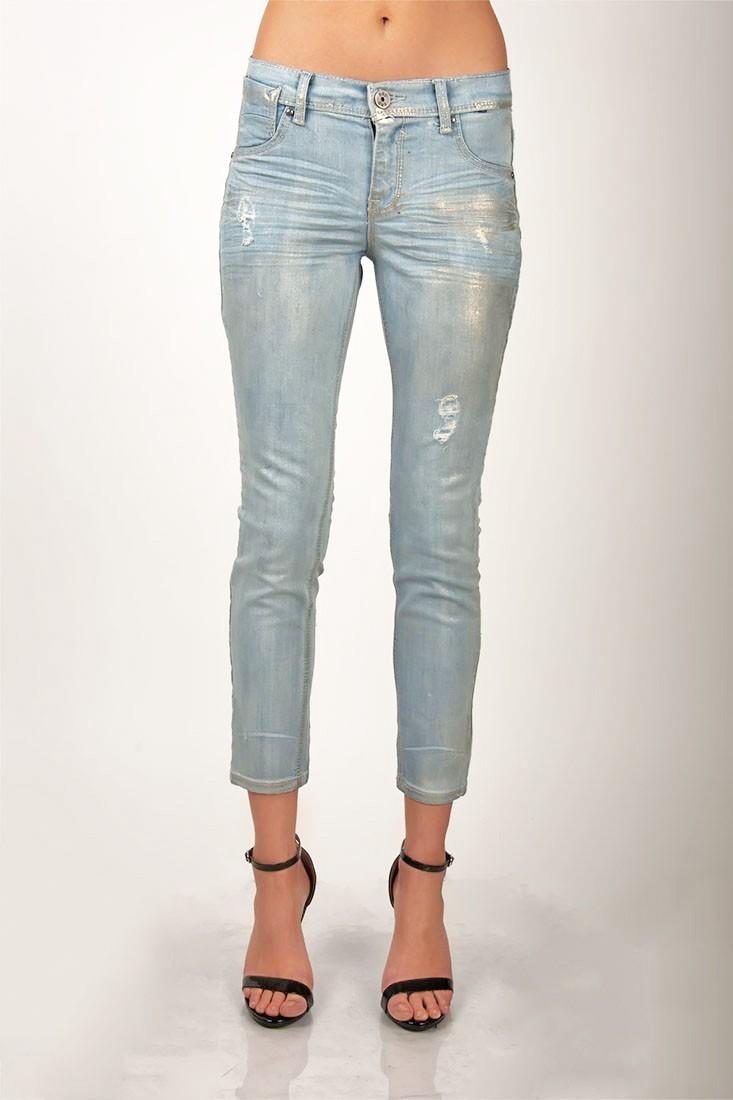 Women Metallic Light Wash Skinny Jeans