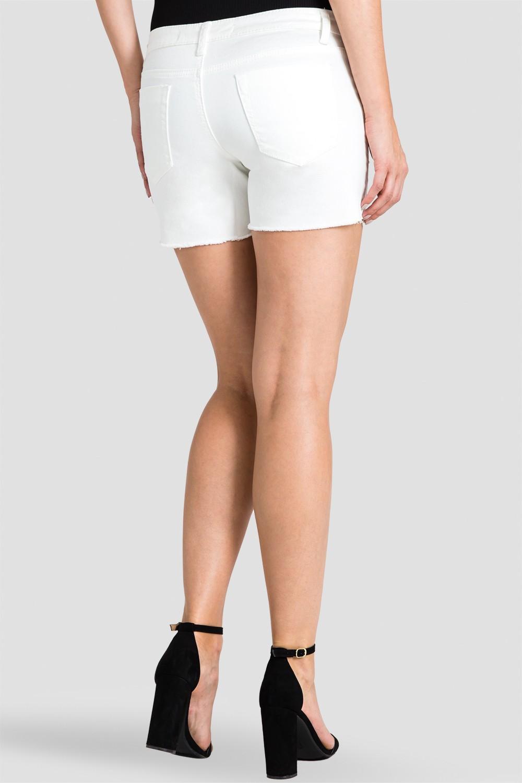 Women White Raw Hem Shorts