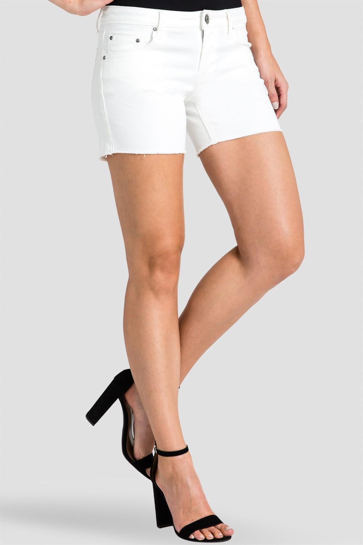 Women Ivory Denim Raw Hem Shorts