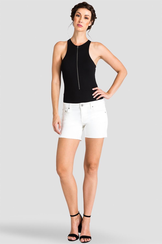 Women White Denim Raw Hem Shorts