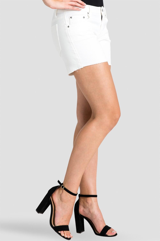 Women Ivory Raw Hem Shorts