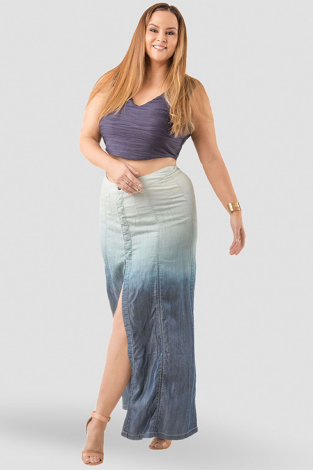 Plus Size Women Ombre Maxi Skirt