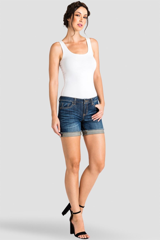Women Denim Raw Hem Shorts