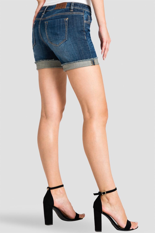 Women Blue Denim Rolled Shorts
