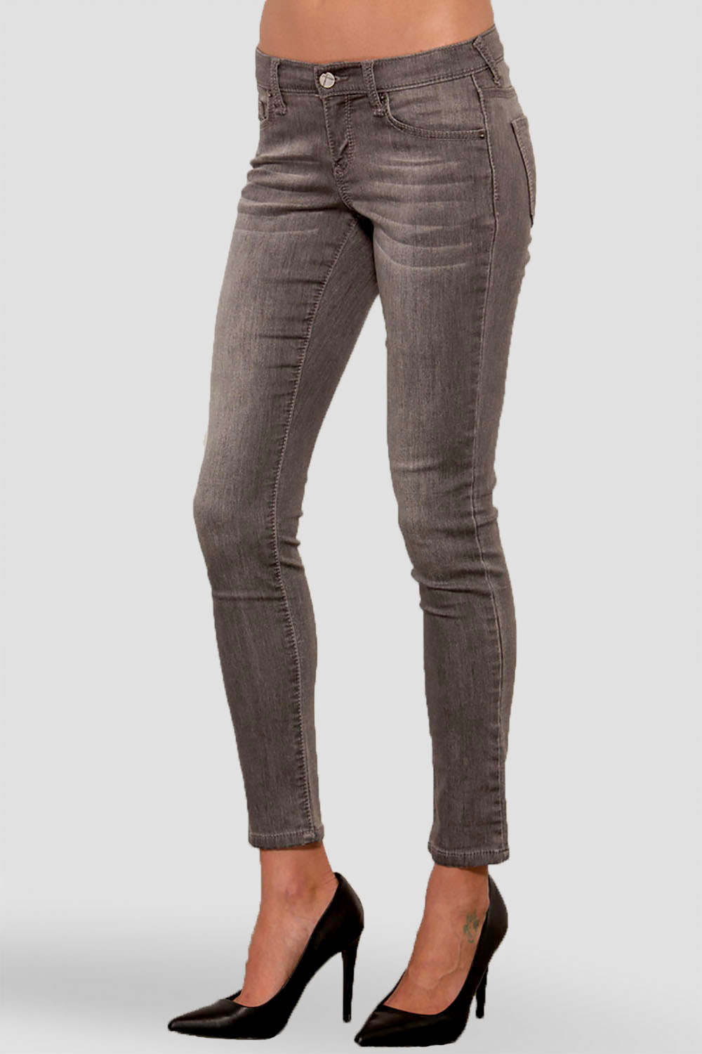 Women Charcoal Mid Rise Denim