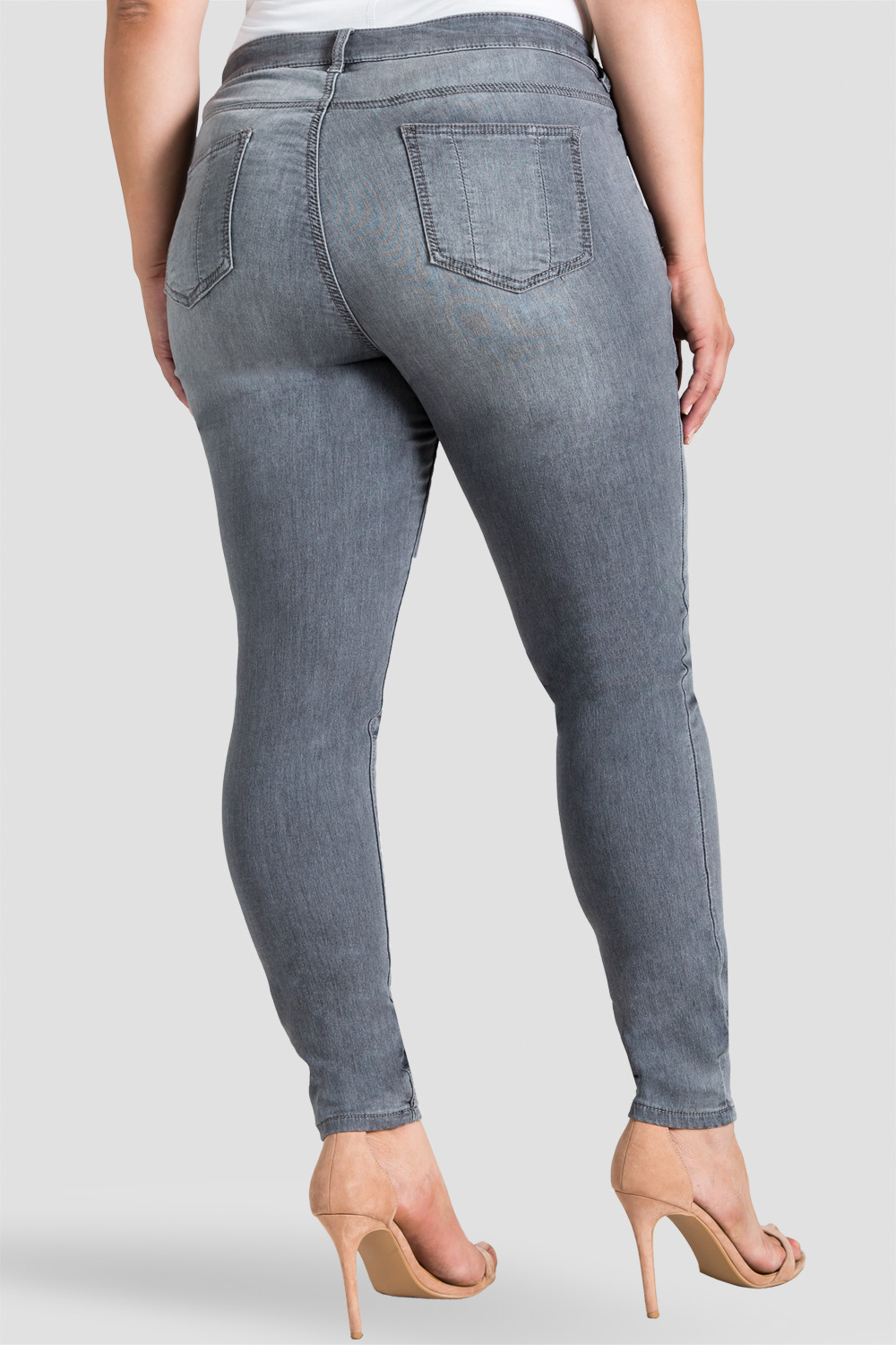 Plus Size Grey Hand Sanded Skinny Jeans