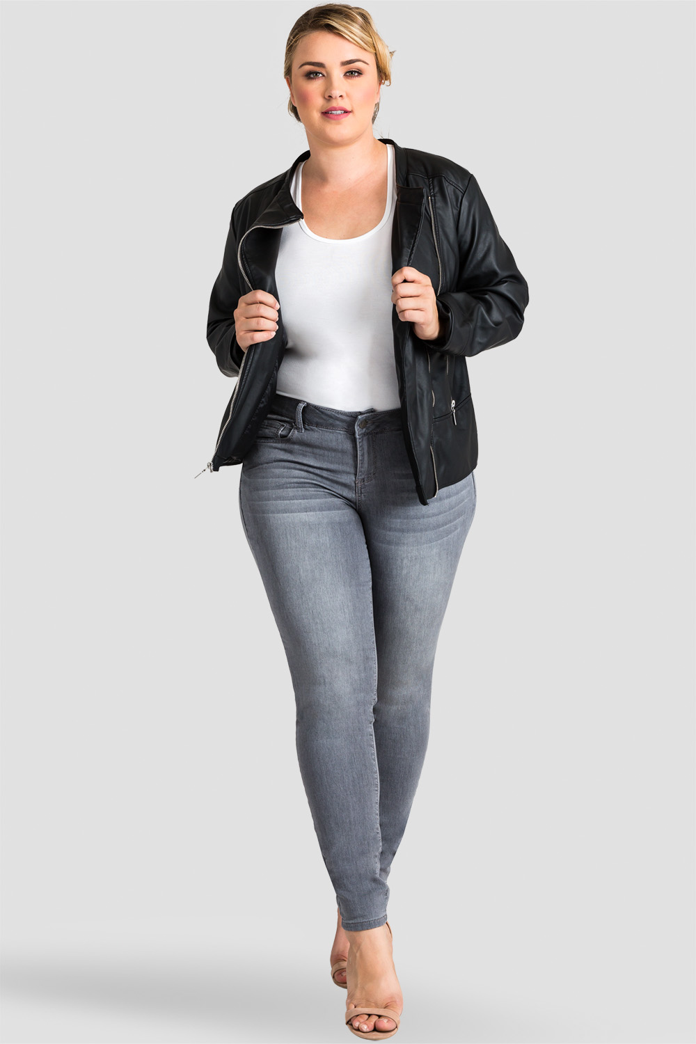 Plus Size Gray Hand Sanded Skinny Jeans