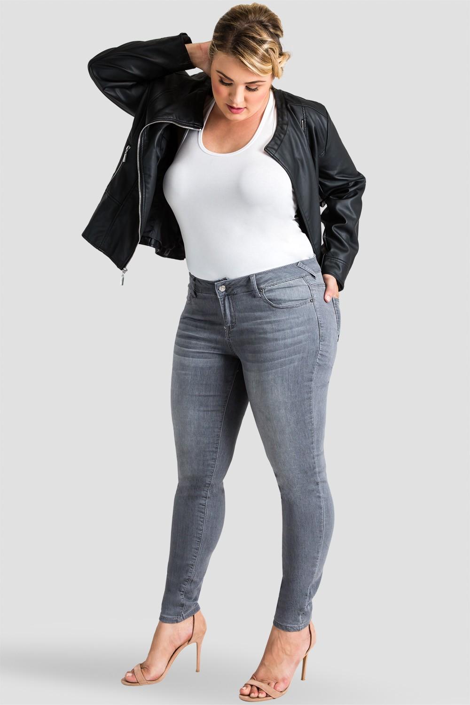Plus Size Women's Gray Skinny Jeans