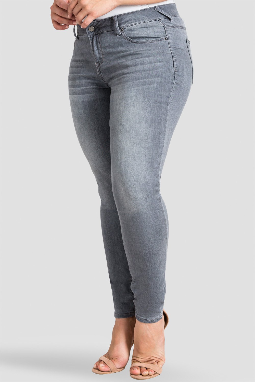 Plus Size Women's Handsanded Grey Wash Skinny Jeans