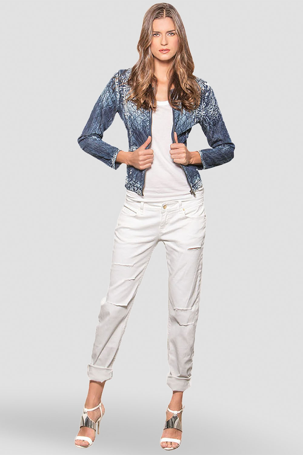 Women White Ripped Skinny Jeans