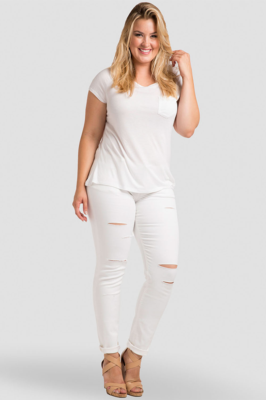 Plus Size Women White Jeans
