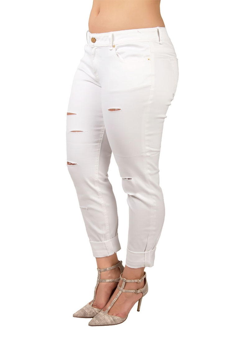 Plus Size Women White Destroyed Skinny Jeans