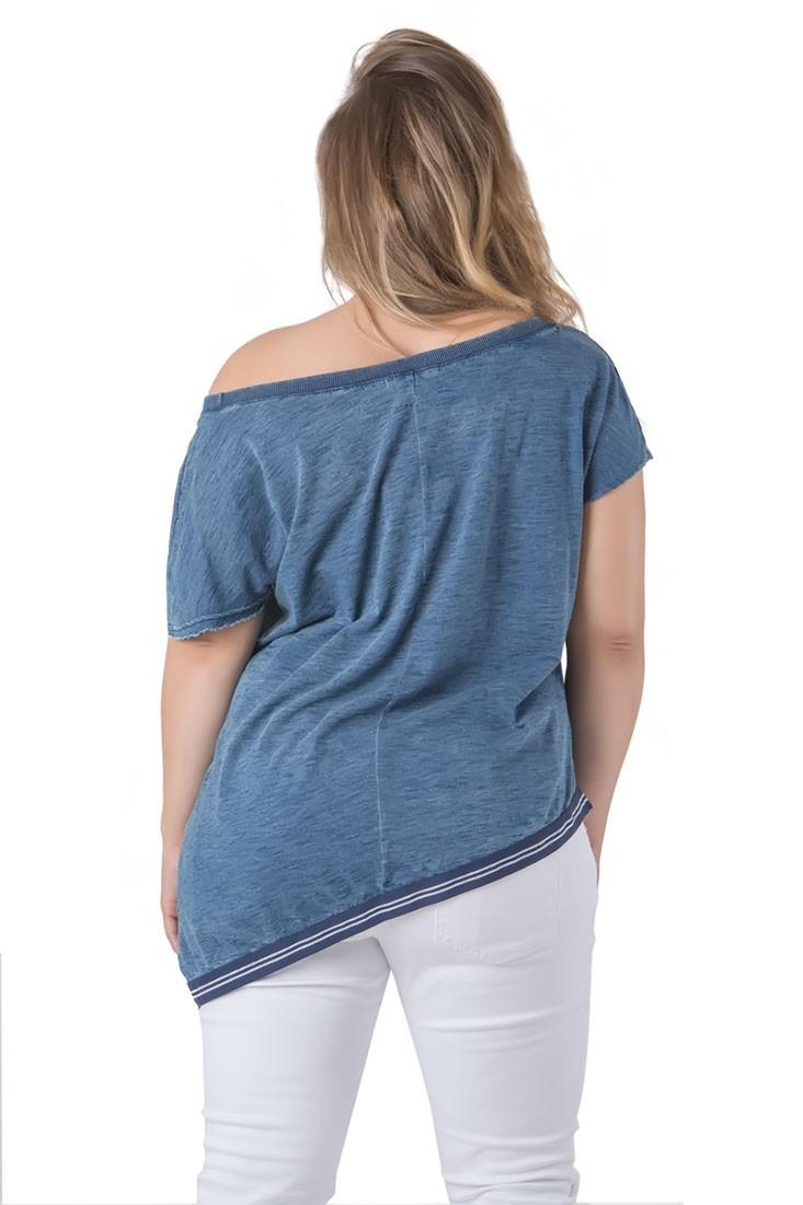 Plus Size Women Blue Asymmetrical Top