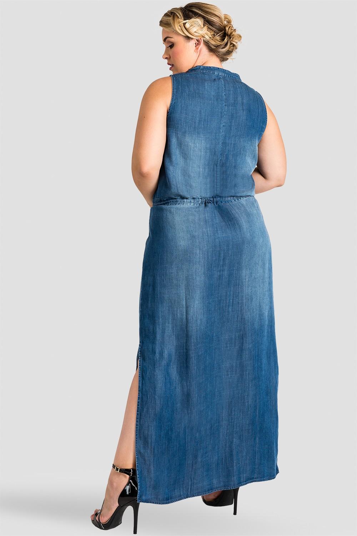 Plus Size Women Denim Sleeveless Maxi Dress