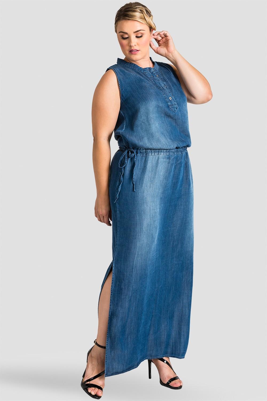 Plus Size Women Indigo Tencel Henley Maxi Dress