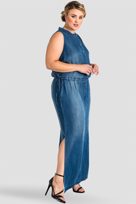 Plus Size Women Tencel Denim Sleeveless Maxi Dress