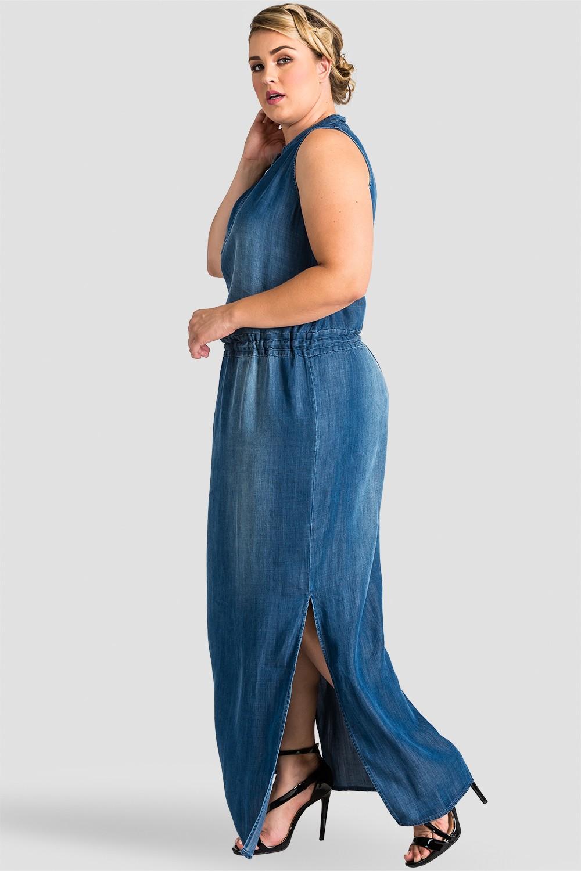 Plus Size Women Indigo Tencel Maxi Dress