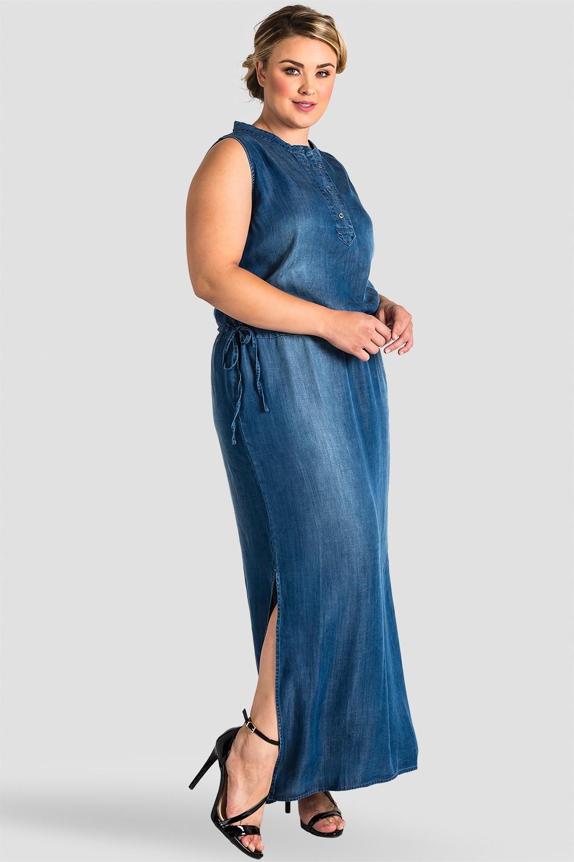 Plus Size Women Indigo Denim Tencel Maxi Dress